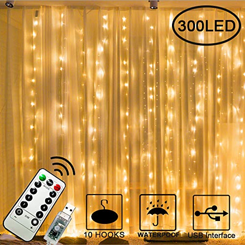 300 LED Curtain Lights, 3mx3m USB Plug in Window Fairy String Lights with 8 Modes Remote Control Timer Waterproof Copper Light for Outdoor Indoor Wedding Party Garden Bedroom Decoration(Warm White)