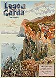 Poster, Vintage-Reiseposter, Italienischer Stil für Lago di Garda, Tremosine, aus dem Jahr 1905, 250 g/m², glänzend, A3, Reproduktion