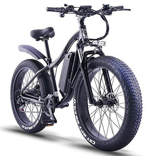 ride66 e Bike Mountainbike ebike Herren Damen 26 Zoll 1000W 48V 16Ah Fatbike (schwarz)