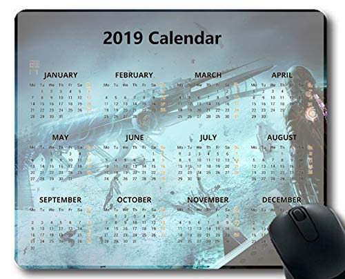 Flying Pig Man 2019 Calendar Pads,Space Spaceship Astronaut Planet Surface Gaming Mouse mat ?Multi 17?