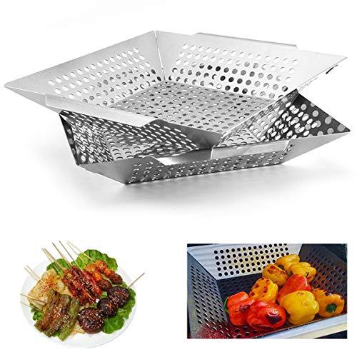 VBARV Grillkorb-Set - Grillwerkzeuge Hochleistungs-Grillzubehör aus Edelstahl, Grillwok für Gemüse, Kabob, Garnelen, Fit All Grill (2er Pack)