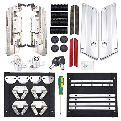 Amazicha Saddlebag Latch Hardware Kit,Chrome Latch Cover Locks Black Red Reflectors Rubber Cushion Compatible for Harley Touring Street Glide Electra Glide Road Glide Road King 1993-2013