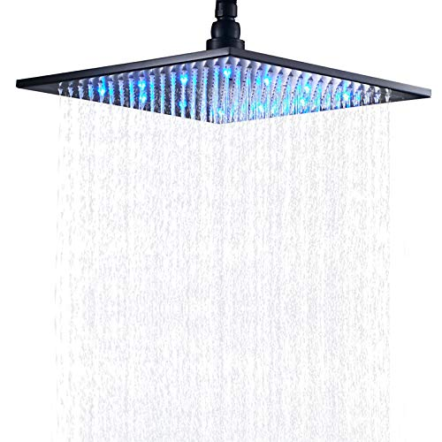 Senlesen Bathroom LED Light 16-inch Square Rainfall Shower Head Overhead Spray Black Color