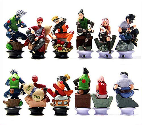 VNNY 12 unids/Set 9 cm Anime Naruto Uzumaki Naruto Sasuke Gaara Kakashi ajedrez PVC colección de Figuras de acción de Juguete