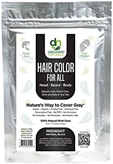 Hair Color For All Natural Hair Dye For Men & Women I 100% Natural & Chemical-Free Pure Hair & Beard Color, Midnight Natur...
