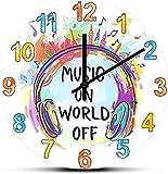 Grande decoración reloj de pared música en el mundo fuera de los auriculares reloj de pared decorativo citas de música silencioso sin tictac reloj de pared para música estudio músico regalos fáciles d