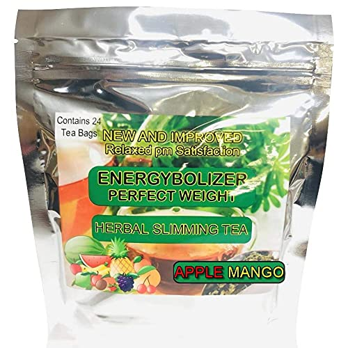 Energybolizer Perfect Weight Herbal Slimming Tea (24 Bags)  Natural Weight Loss and Metabolism Booster for Women and Men   Herbal Detox and Colon Cleanser for Better Digestive Health (Apple Mango)
