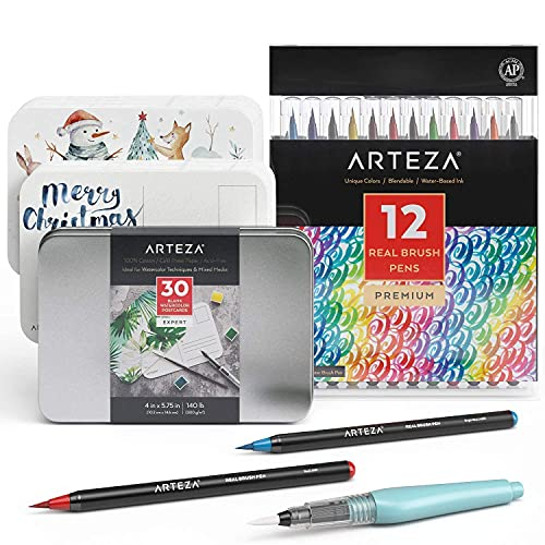 Arteza Real Brush Pens and Blank Watercolor Postcards Bundle, Drawing Art Supplies for Artist, Hobby Painters & Beginners