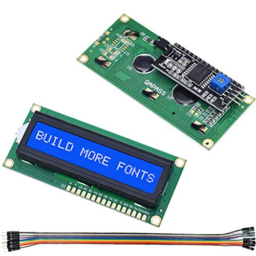 Youmile 2Pcs 1602 LCD Module IIC/I2C/TWI Interface 1602 16x2 Serial LCD Adapter Module for Arduino UNO R3 Mega 2560 Raspberry Pi with Dupont Cable
