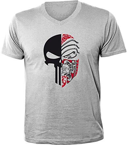 Mister Merchandise Herren V-Ausschnitt T-Shirt Punisher, V-Neck, Größe: S, Farbe: Grau
