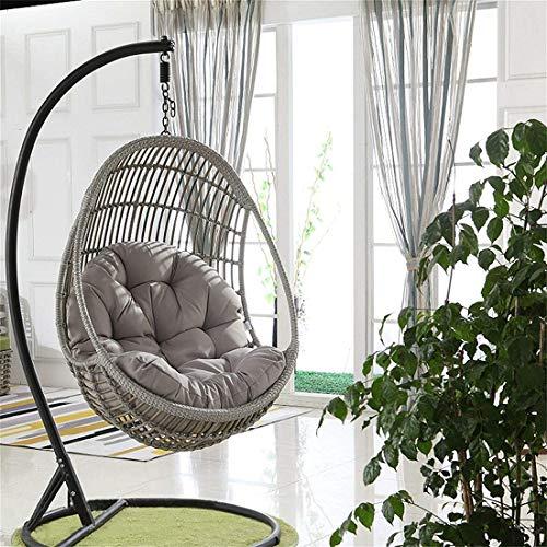 Cuscino per sedia a dondolo, cuscino per sedia a dondolo, cuscino per sedia a dondolo, in vimini rattan, a forma di uovo, per casa, giardino, sedia non inclusa (grigio)