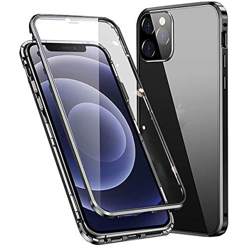 Funda para iPhone 12 Pro Max magnética, 360 grados, carcasa completa antigolpes [con protección para objetivo de la cámara] trasera y delantera transparente, cristal templado, antiarañazos,negro