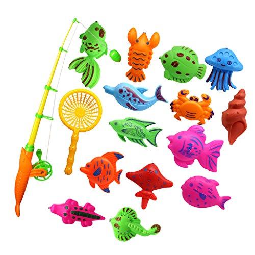 Magnetische Fisch Angeln Kinder Angelspiel mit Angelrute und Fischernetze Badewannespielzeug - 15 Stück