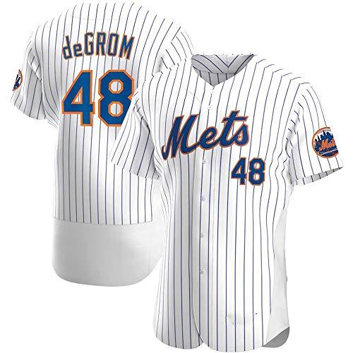 HYQ Männer Jersey, MLB T-Shirt mit New York Mets, Major League Baseball-Team Sportswear Fans Jersey mit V-Ausschnitt-beiläufige Kurze Hülsen,Elite White 48,M/48