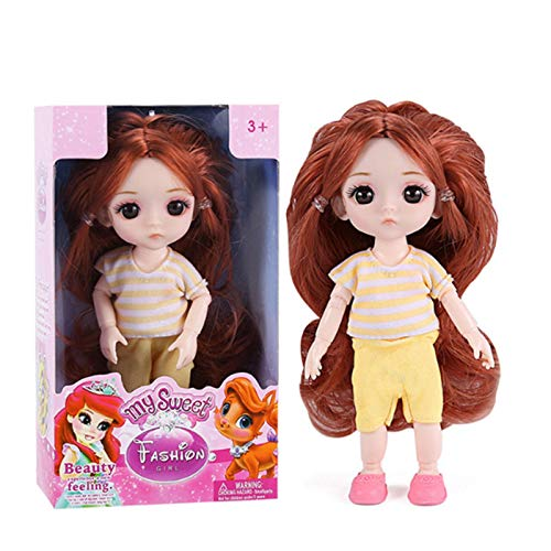 Princess Puppe ca. 16cm groß, beweglich, mit Lange Haare, wunderschönem Kleid und Glänzende Augen, für Kinder ab 3 Jahre