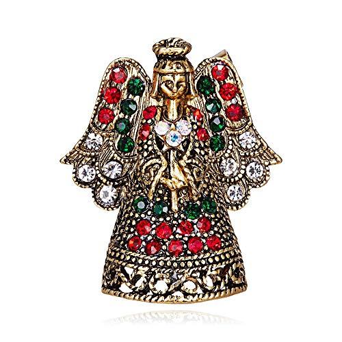 Pequeño ángel broches alfileres alas coloridas vestido de cristal de diamantes de imitación alfileres para niña broche para mujer traje de hadas femenino abrigo regalos-1