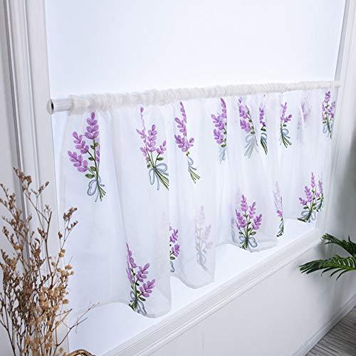 DanLink Cortina corta con bordado de flores, cortina pastoral, cortinas de cocina, media cortina, cortinas de panel corto, 100 x 50 cm, color morado