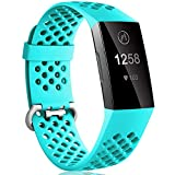 Dirrelo Compatible con Fitbit Charge 3/Fitbit Charge 4 Correa, Reemplazo Ajustable de Silicona Deportiva Transpirables Pulsera para Fitbit Charge 3 SE, para Mujeres Hombres, Turquesa S
