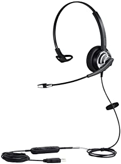 USB Headset with Noise Cancelling Microphone and Volume Controller for Conference Calls Softphone Conversation Clear Chat ...