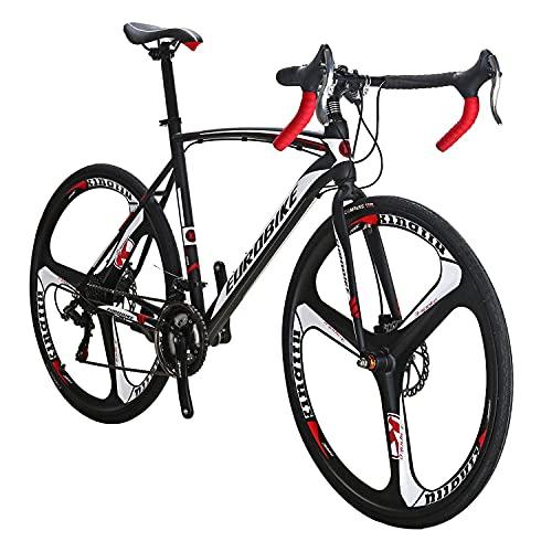 Eurobike Road Bikes EURXC550 21 Speed 54 cm Frame Road Bicycle 700C 3-Spoke Wheels Dual Disc Brake Bike Blackwhite
