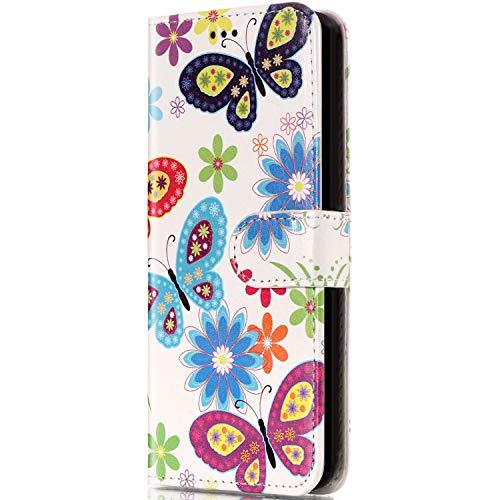 Compatible avec Coque Huawei P8 Lite,Etui Huawei P8 Lite,ikasus Huawei P8 Lite Couleur Étui Housse en Cuir PU Portefeuille Flip Étui Wallet Coque Silicone TPU pour Huawei P8 Lite - Coloré Papillon