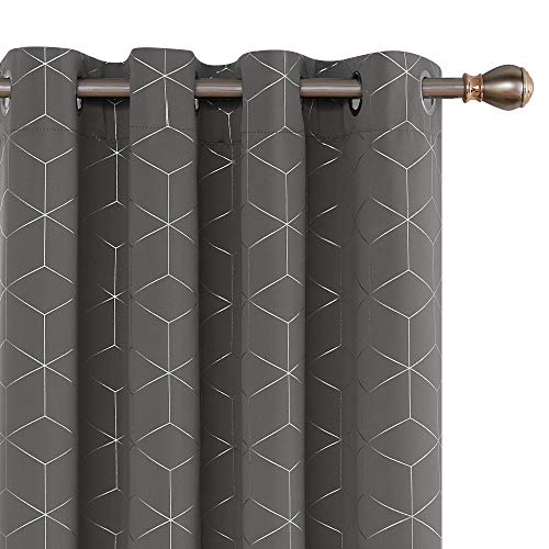 Deconovo Diamond Foil Printed Eyelet Curtains Blackout Thermal Insulated Curtains for Living Room W46 x L54 Inch Grey One Pair