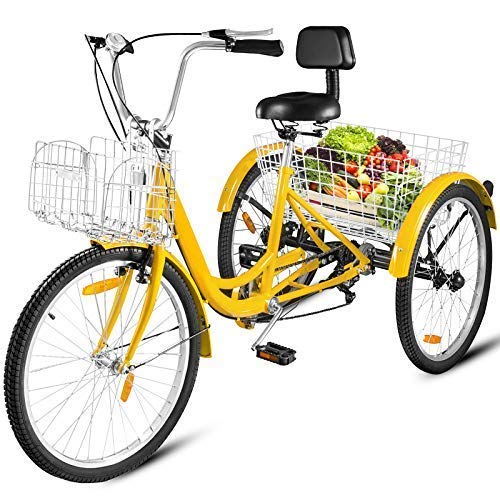 Happybuy 20/24/26 inch Adult Tricycle 1/7 Speed 3 Wheel Bike Adult Tricycle Trike Cruise Bike Large Size Basket for Recreation Shopping (Yellow, 24 Inch / 7 Speed)