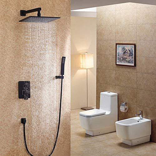 Jiuzhuo - Juego de ducha y ducha de mano (latón macizo), color negro mate, latón, 10 inch shower head