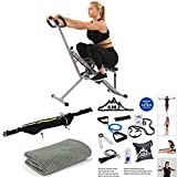 Sunny Health and Fitness Upright Squat Assist Row-N-Ride Trainer Bundle with 7-Piece Fitness Kit,...