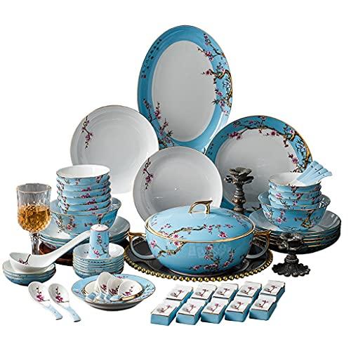 YWSZJ Vajilla de cerámica Jingdezhen China de Lujo de Lujo China Esmalte de Esmalte Chopsticks y Platos Conjunto Caja de Regalo