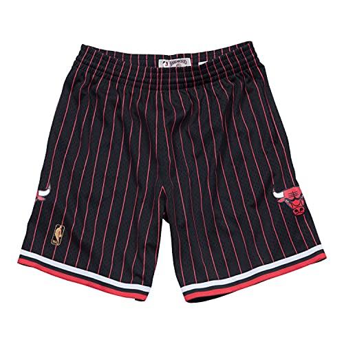 Mitchell & Ness Chicago Bulls 1996 - Pantalones Cortos para Hombre, diseño de Rayas, Color Negro, S, Negro