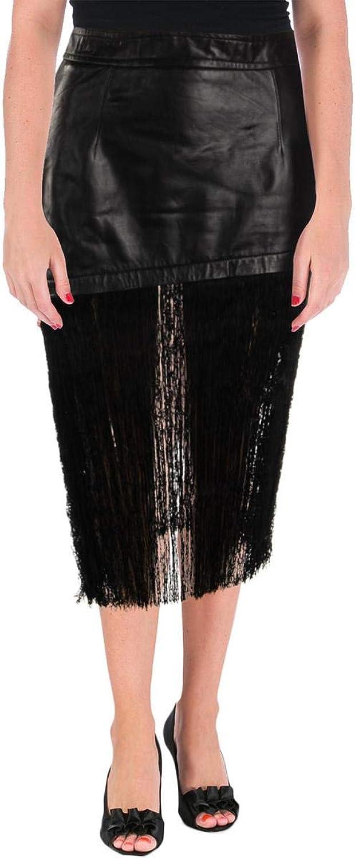 Helmut Lang Womens Lambskin Leather Fringe Hem Asymmetrical Skirt