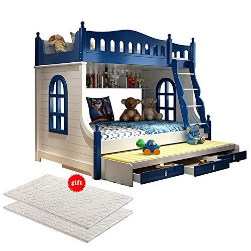 WSN Massivholz Etagenbett, Massiver Kiefernholzrahmen Twin Over Full, Kinder-Etagenbett für Kinder Dreistöckiges Erwachsenenbett mit 2 Matratzen,1.5Mx2M