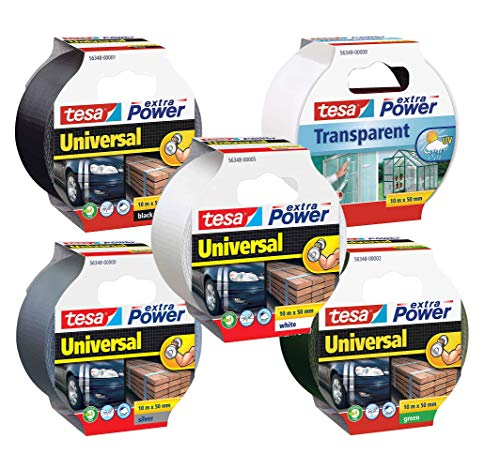 tesa Extra Power Universal Gewebeband (Wetterfestes Reparaturband, 10 m x 50 mm) (1x Komplett-Set (5 Farben))
