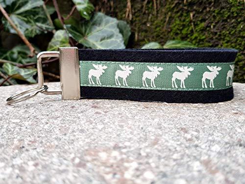 Schlüsselanhänger Schlüsselband Filz schwarz Webband Elche grün Geschenk!