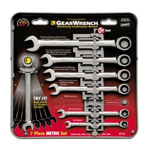 GEARWRENCH 7 Pc. 12 Pt. Ratcheting Combination Wrench Set, Metric - 9417