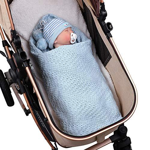 DaMohony Nyfödd bebisfilt, småbarn pojkar flickor bomull stickad filt för spjälsäng, barnvagn, bil, mottagning eller swaddle filt, 100 x 80 cm
