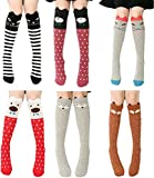 Cartoon Animal Cat Bear Fox Cotton over Calf Knee High Socks One Size 6 Colors