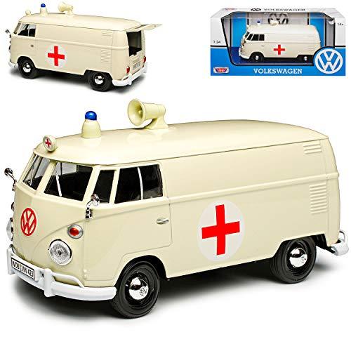 Motormax Volkwagen T1 Kasten Krankenwagen Notarzt Cream Beige Samba Bully Bus 1950-1967 1/24 Modell Auto mit individiuellem Wunschkennzeichen