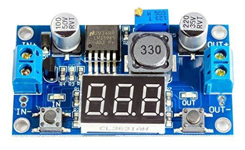 Spannungsregler Step Down DC-DC incl Voltmeter LM2596S von3,2-40V nach1,25-35V für Arduino BEC