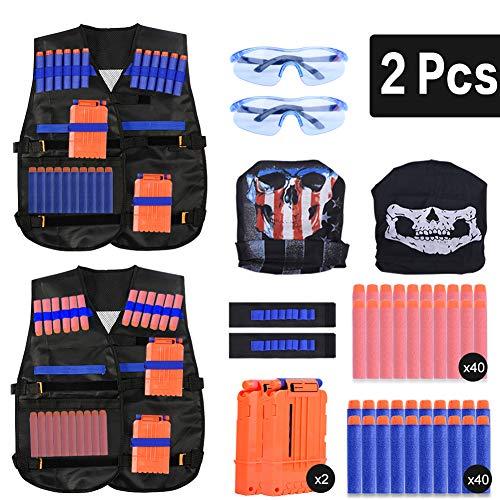 EXTSUD 2-pack tactisch vest jas set Nerf N-Strike Elite set, Nerf vest voor kinderen, Tactisch vest, Nerf accessoireset Tactisch vest voor kinderen met 80 darts navulverpakking voor Nerf Guns N-Strike Elite serie