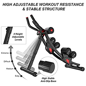 eHUPOO Core & Abdominal Trainer Ab Machine Abs Workout Equipment Whole Body Workout Cardio Machine Exercise Equipment for Home Gym, Foldable Waist Trainer Fitness Machine with Digital LCD Display