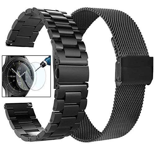 Koreda Compatible with Galaxy Watch 46mm/Gear S3 Frontier/Classic Bands Sets, 22mm Stainless Steel Metal Band + Mesh Loop Strap Replacement for Galaxy Watch 3 45mm/Ticwatch Pro Smartwatch
