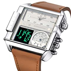 JSDDE Men's Brown Square Digital Electronic Genuine Leather Band 3ATM Waterproof LCD Sport Watch Casual Business Quartz Military Multifunction Back Light #2