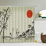 XCBN Pintura de Tinta China Flor Planta Paisaje pájaro ilustración baño decoración Cortina Impermeable A3 150x180cm