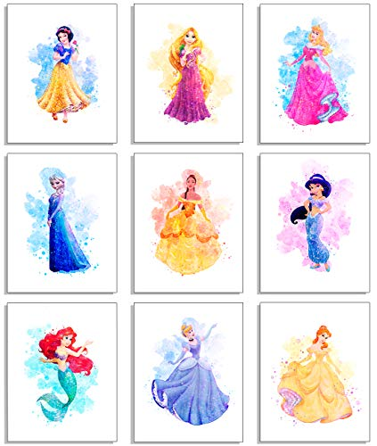 Herzii Prints - Princess Wall Art Decor Watercolor Prints - Set of 9 - 8 x 10 Inch - Princess Bedroom Decor, Princess Room Decor, Princess Wall Decor For Girls Bedroom