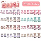 48pcs 3D Cute Bear Resin Nail Art Decorations- Crystal Bear Shaped Aurora Rhinestones in 6 Styles Nail Glitter Jelly Ornaments in 3 Sizes Nails Art Accessories for Nail Art Design Manicure Tips Decor