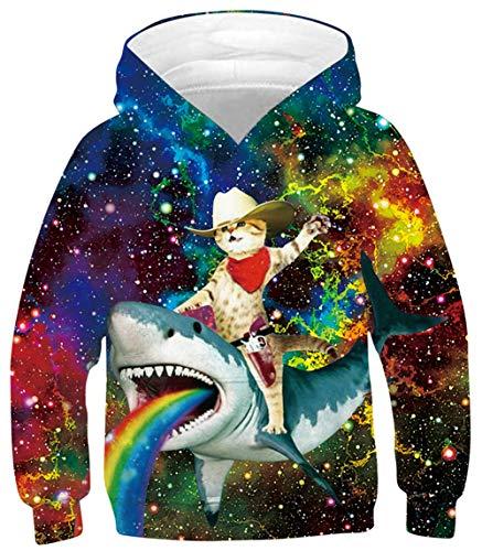 Boys Hoodies Sweatshirts Cool 3D Captain Cat Riding Rainbow Shark Pullover Hooded Winter Long Sleeve Hoodie Jumpers Athletic Sportswear with Big Pocket 6-8 Years