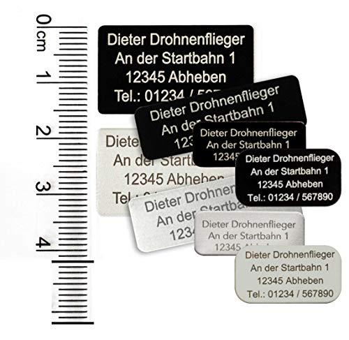 MJ Onlinehandel Drohnen-Kennzeichnung mit 3-5 Zeilen Schrift, Plakette Alu eloxiert - Kennzeichen Vier Größen, selbstklebend