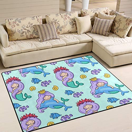 Mr.Lucien Alfombra de área para dormitorio, diseño de sirena, pez, océano, interior, para jardín, oficina, suelo, alfombra antideslizante para cocina, baño, 160 x 122 cm 2020537
